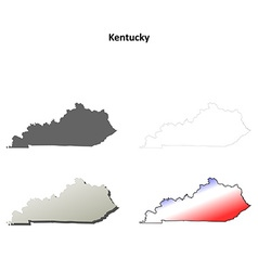 Kentucky outline map set vector