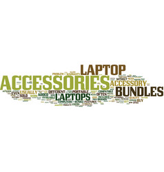 Laptop accessories in a bag text background word vector