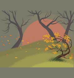 Leaves falling scene vector