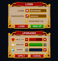 Medieval game GUI pack 2 vector image