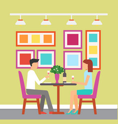 meeting of couple glass of wine man woman vector image
