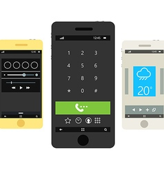 Modern smartphones with different interfaces vector
