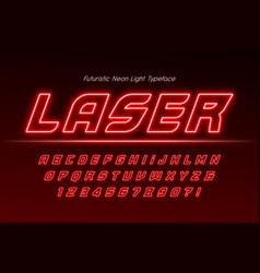 Neon light 3d alphabet extra glowing modern type vector