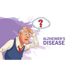 Old man patient alzheimer disease with ask vector