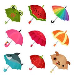 Ollection of cute colorful umbrellas vector