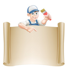 Paintbrush guy and scroll vector