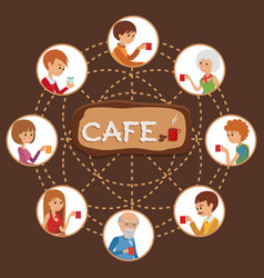 people in cafe with friends vector image