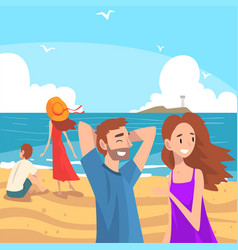People relaxing on seaside at summer time vector