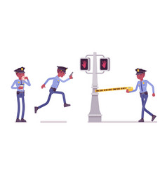policeman serves and protects city vector image