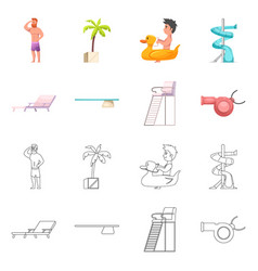 Pool and swimming icon set vector