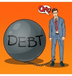Pop Art Businessman Chained to a Stone Debt Ball vector image