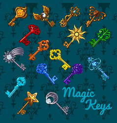 poster with colorful vintage magic keys isolated vector image