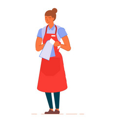 Professional waitress in apron polishing wine vector