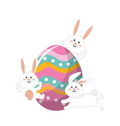 Rabbits easter with decorated egg in the hands vector