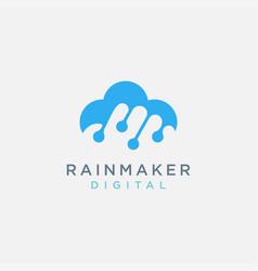 rain cloud link digital logo icon template vector image