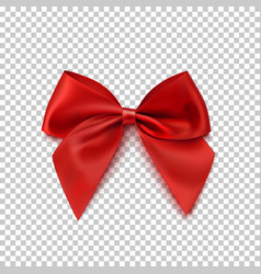 realistic red bow isolated on transparent vector image