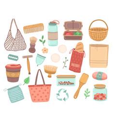 reusable items zero waste eco friendly recycle vector image