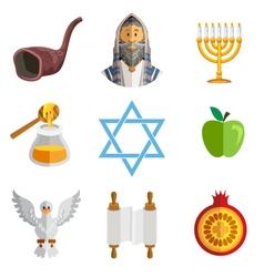 Rosh Hashana Jewish New Year Yom Kippur Icons vector