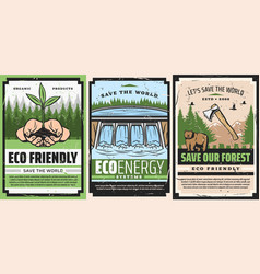 Save world environment protection retro poster vector