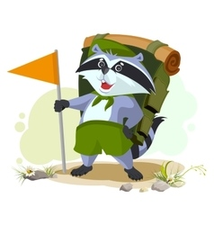 Scout raccoon with backpack goes camping Summer vector image