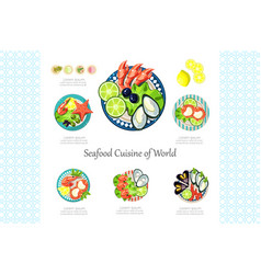 seafood cuisine of world restaurant delicious vector image