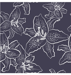 Seamless pattern white lily on a dark background vector image