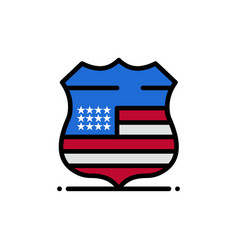 shield sign usa security flat color icon icon vector image