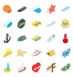 Shoreline icons set isometric style vector