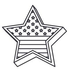Silhouette usa flag inside star design vector