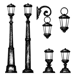 Sketch of street light drawing vector