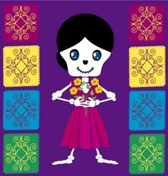 Skull girl with flowers vector