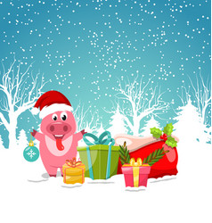 smiling with christmas gift-boxes winter nature vector image