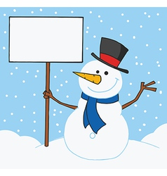 Snowman Holding A Blank Sign In The Snow vector image