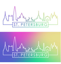 st petersburg city skyline colorful linear vector image