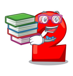 Student with book number two red isolated on vector