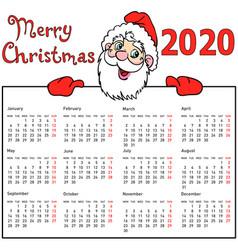 Stylish calendar withmuscular santa claus for 2020 vector