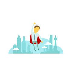 Superhero man businessman flies over city vector