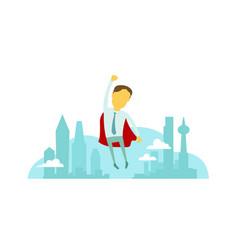 superhero man businessman flies over the city with vector image