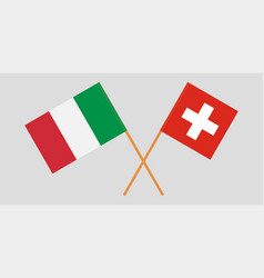 The crossed switzerland and italy flags vector