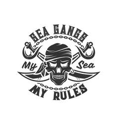 Tshirt print with pirate skull in bandana sabers vector