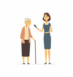 Tv presenter interviewing senior woman - cartoon vector