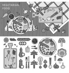 vegetarian food on table line monochrome vector image