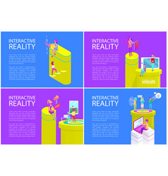 virtual interactive reality vector image