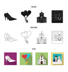 Wedding and attributes cartoon flatoutlineblack vector