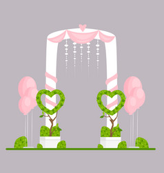 Wedding arch flat engagement vector