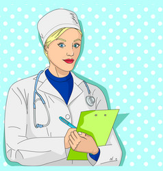 woman doctor a girl in a dressing gown and vector image