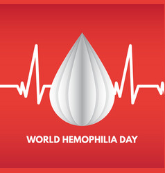 World hemophilia day cardiogram and blood drops vector