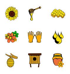 beekeeper icons set cartoon style vector image vector image