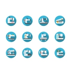 Blue round flat sewing machines icons vector image