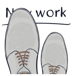 Business concept a new job Feet in shoes on the vector image